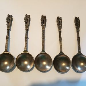Other - Set of 5 Pewter Dutch Wedding spoons very nice